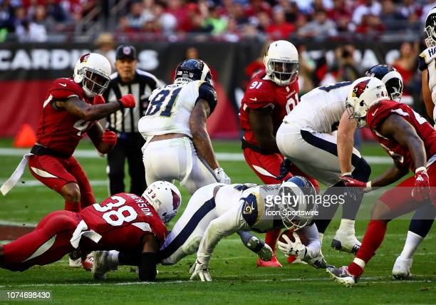 Los Angeles Rams running back CJ Anderson runs for touchdown during the NFL football game between the Arizona Cardinals and the Los Angeles Rams on...