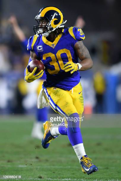 Los Angeles Rams running back Todd Gurley againsat the Dallas Cowboys at Los Angeles Memorial Coliseum on January 12 2019 in Los Angeles California