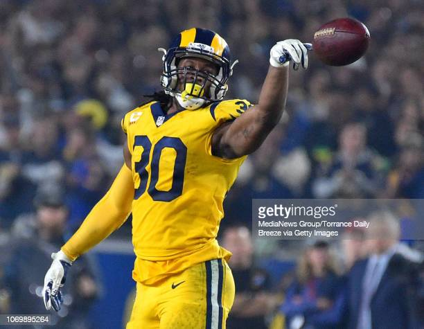 Los Angeles Rams running back Todd Gurley celebrates after a first down at the Los Angeles Memorial Coliseum on Monday Nov 19 2018