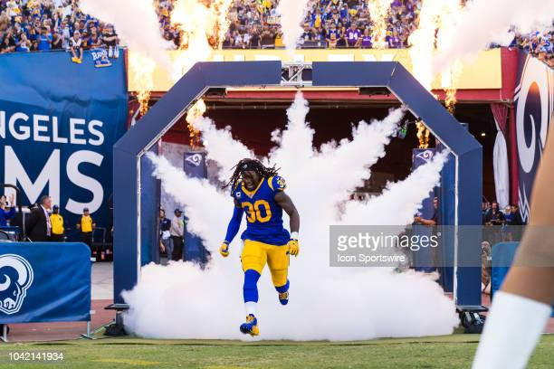 Los Angeles Rams running back Todd Gurley enters the field from the tunnel for player introductions before an NFL regular season football game...