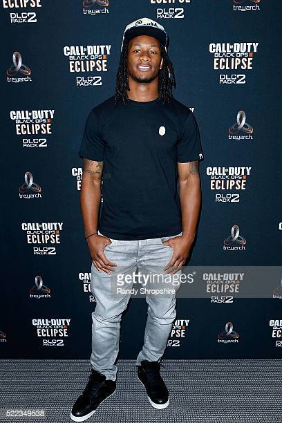 Los Angeles Rams running back Todd Gurley goes headtohead against New York Jets running back Matt Forte in Call Of Duty Black Ops3 to celebrate the...