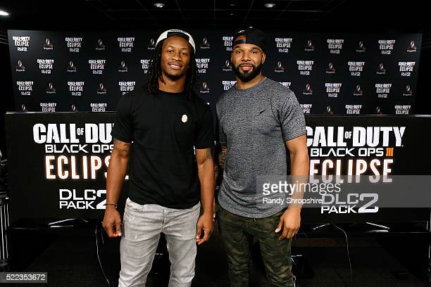 Los Angeles Rams running back Todd Gurley goes head-to-head against New York Jets running back Matt Forte in Call Of Duty: Black Ops3 to celebrate...