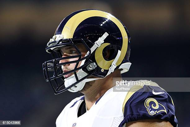 Los Angeles Rams T Rob Havenstein during warmups before the first half of an NFL football game against the Detroit Lions in Detroit, Michigan USA, on...