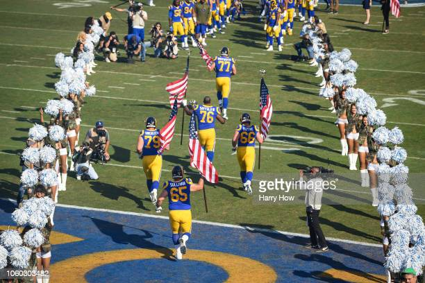 Los Angeles Rams take the field ahead of the game against the Seattle Seahawks at Los Angeles Memorial Coliseum on November 11 2018 in Los Angeles...