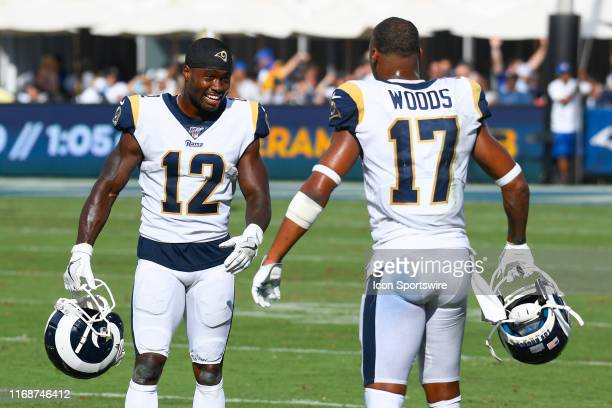 Los Angeles Rams Wide Receiver Brandin Cooks and Los Angeles Rams Wide Receiver Robert Woods look on during an NFL game between the New Orleans...