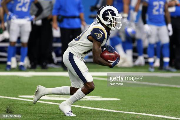 Los Angeles Rams wide receiver JoJo Natson runs the ball during the first half of an NFL football game against the Los Angeles Rams in Detroit...