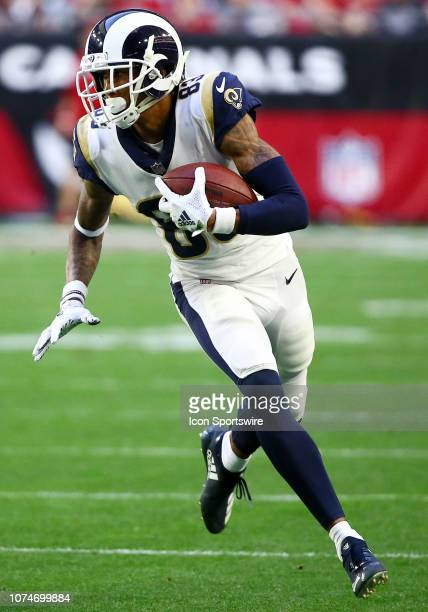 Los Angeles Rams wide receiver Josh Reynolds runs the ball forward during the NFL football game between the Arizona Cardinals and the Los Angeles...
