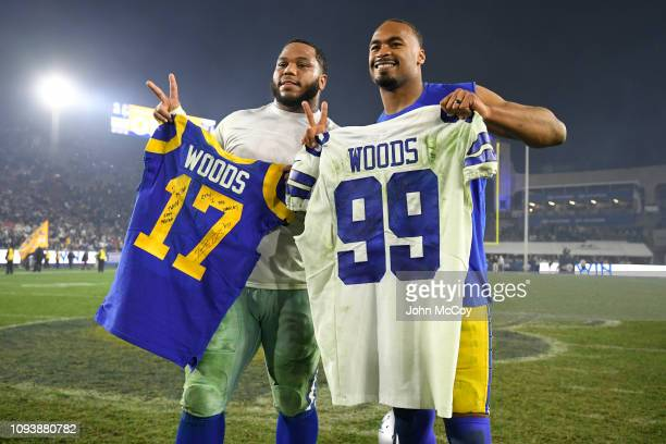 Los Angeles Rams wide receiver Robert Woods and Dallas Cowboys defensive tackle Antwaun Woods traided jerseys after the game at Los Angeles Memorial...