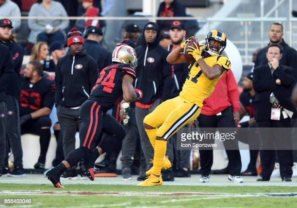 Los Angeles Rams Wide Receiver Robert Woods catches a pass during an NFL game between the Los Angeles Rams and the San Francisco 49ers on September...