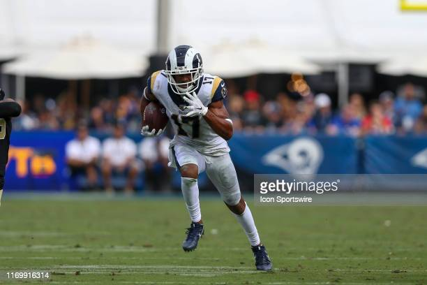 Los Angeles Rams wide receiver Robert Woods catches the ball for a gain during an NFL football game between the New Orleans Saints and the Los...