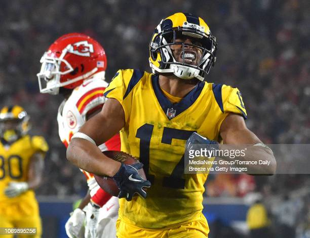Los Angeles Rams wide receiver Robert Woods celebrates a first down reception at the Los Angeles Memorial Coliseum on Monday Nov 19 2018
