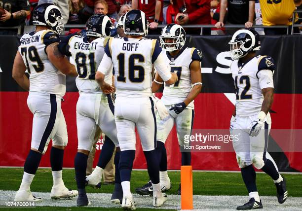 Los Angeles Rams wide receiver Robert Woods celebrates a touchdown during the NFL football game between the Arizona Cardinals and the Los Angeles...
