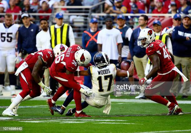 Los Angeles Rams wide receiver Robert Woods gets tackled during the NFL football game between the Arizona Cardinals and the Los Angeles Rams on...