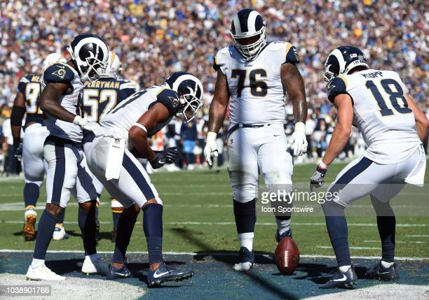 Los Angeles Rams Wide Receiver Robert Woods , Los Angeles Rams Offensive Guard Rodger Saffold , and Los Angeles Rams Wide Receiver Cooper Kupp...