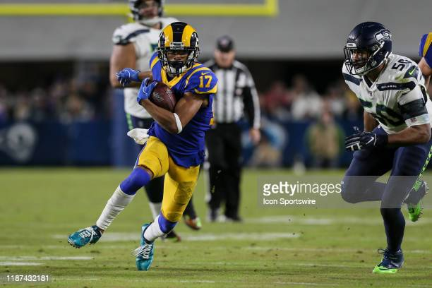 Los Angeles Rams wide receiver Robert Woods runs for a first down during the NFL game between the Seattle Seahawks and the Los Angeles Rams on...