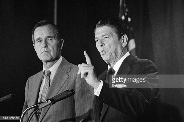 Republican presidential candidate Ronald Reagan seeing his running mate George Bush off to Peking reiterated his call for 'official' relations with...