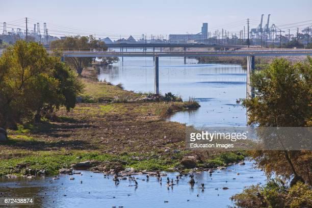 Los Angeles River near Willow Street, Long Beach, California, USA.