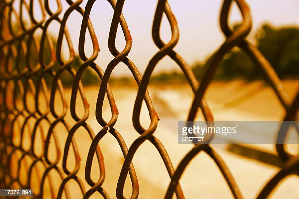 Los angeles river through fence.