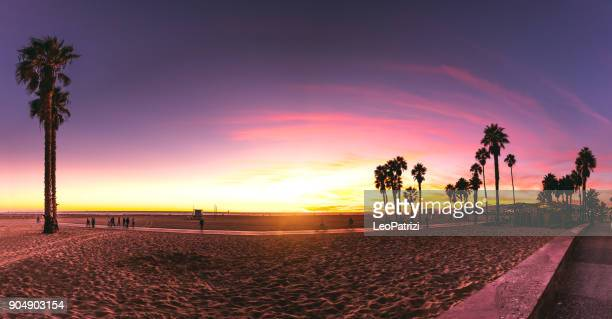los angeles - santa monica, california beautiful sunset by the beach - la waterfront stock pictures, royalty-free photos & images