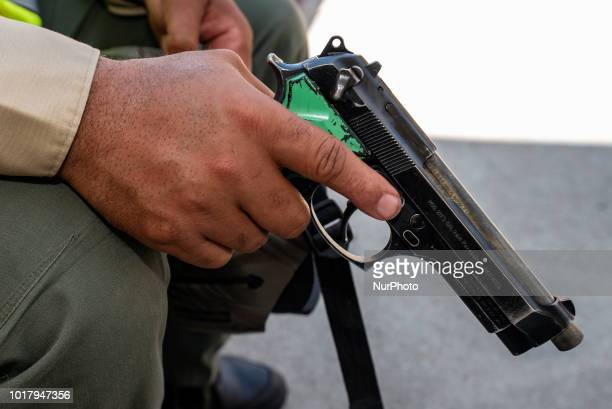 Los Angeles Sheriffs deputy during an active shooter drill in a high school near Los Angeles, California on August 16, 2018.