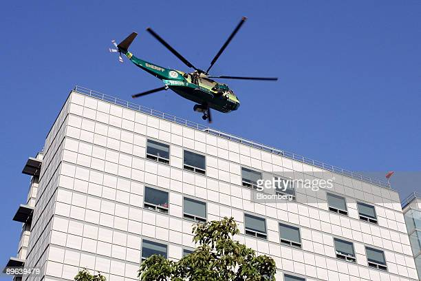 Los Angeles Sheriff's helicopter with the body of Michael Jackson on board departs from the UCLA Medical Center for the LA County morgue in Los...