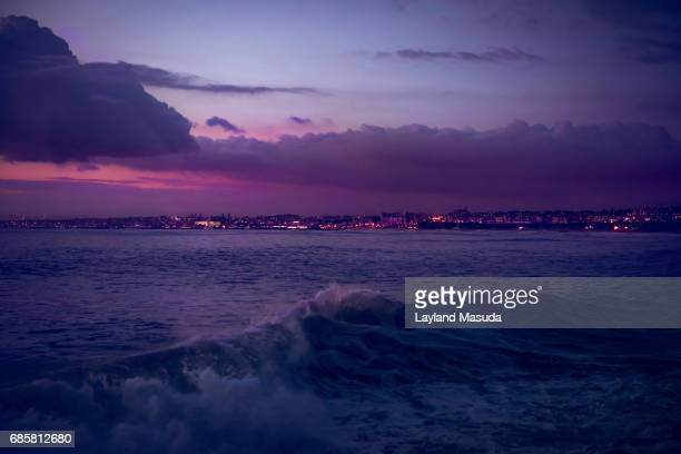 los angeles shoreline at night - hermosa beach stock pictures, royalty-free photos & images