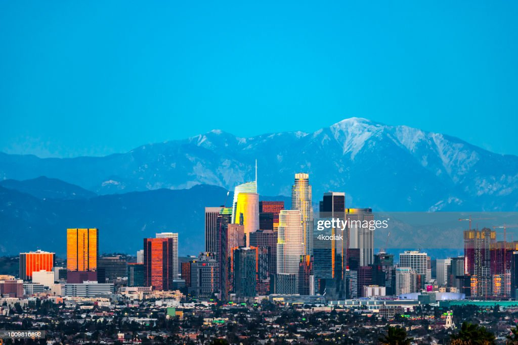 Los Angeles skyline after sunset : Stock Photo