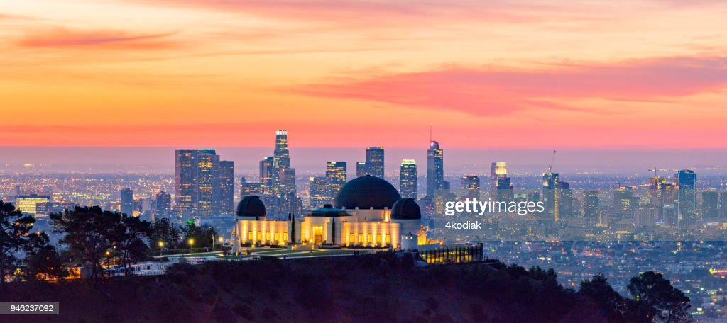 Los Angeles Skyline at Dawn Panorama and Griffith Park Observatory in the Foreground : Stock Photo