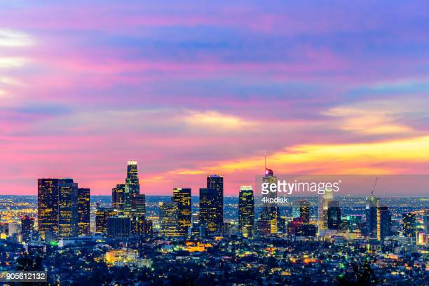 los angeles skyline at dawn - griffith park stock pictures, royalty-free photos & images