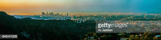 los angeles skyline at sunrise - hollywood hills stock photos and pictures