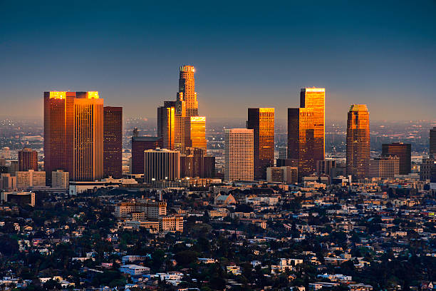 Los Angeles Skyline At Sunset Thru Smog And Atmosperic Distortion Wall Art