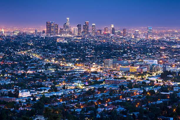 Los Angeles Skyline Cityscape At Dusk, California, USA Wall Art