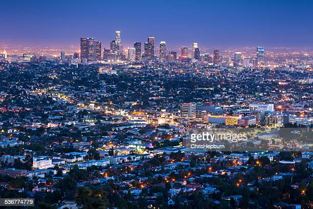 Los Angeles Skyline Cityscape at Dusk, California, USA