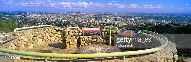 los angeles skyline from mulholland, california - mulholland drive stock photos and pictures