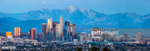los angeles skyline panaorma - downtown district stock pictures, royalty-free photos & images