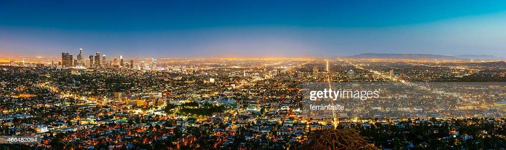 Los Angeles Skyline Panorama at Dusk : Stock Photo