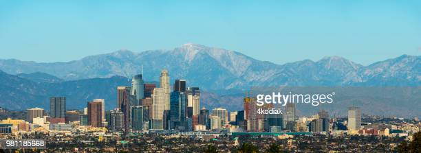 los angeles skyline panorama - mount baldy stock photos and pictures
