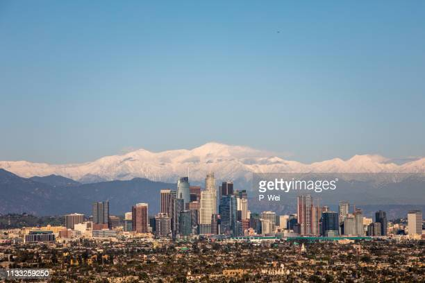los angeles skyline - city of los angeles stock pictures, royalty-free photos & images