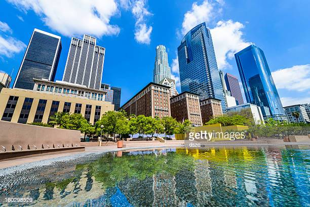 Los Angeles skyline skyscrapers cityscape reflecting pond from Pershing Square