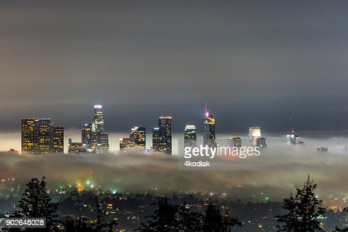 Los Angeles Skyline with Fog at Dawn
