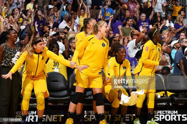 Los Angeles Sparks celebrate during the game against the Phoenix Mercury on August 5 2018 at The Staples Center in Los Angeles California NOTE TO...