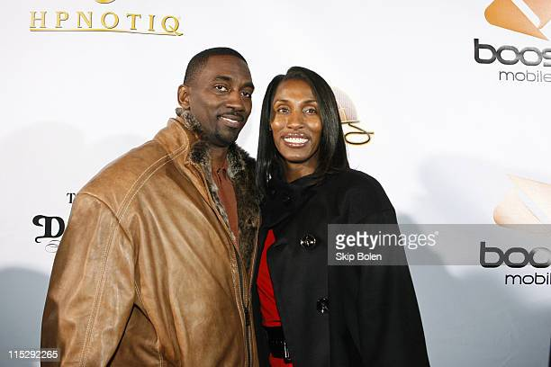 Los Angeles Sparks center Lisa Leslie and her husband attends the 2008 NBA AllStar in New Orleans Boost Mobiles Zo and Magic 8Ball Challenge...