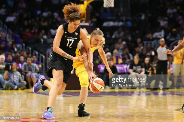 Los Angeles Sparks center Maria Vadeeva attempts to steal the ball from New York Liberty center Amanda Zahui B during a WNBA game between the Los...