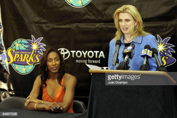 Los Angeles Sparks coowner Carla Christofferson speaks during Lisa Leslie's announcement of her retirement at the end of the 2009 WNBA season during...