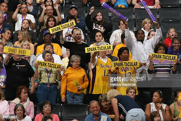 Los Angeles Sparks fans hold up signs while their team takes on the Detroit Shock at Staples Center on June 11 2008 in Los Angeles California NOTE TO...