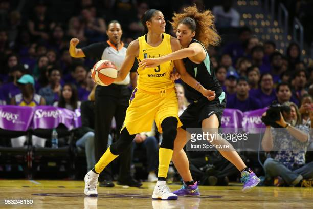 Los Angeles Sparks forward Candace Parker post up against New York Liberty center Amanda Zahui B during a WNBA game between the Los Angeles Sparks...