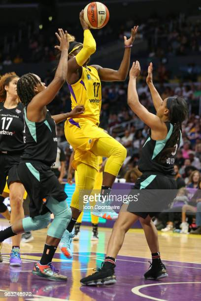 Los Angeles Sparks forward Essence Carson drives to the basket during a WNBA game between the Los Angeles Sparks and the New York Liberty on June 24...