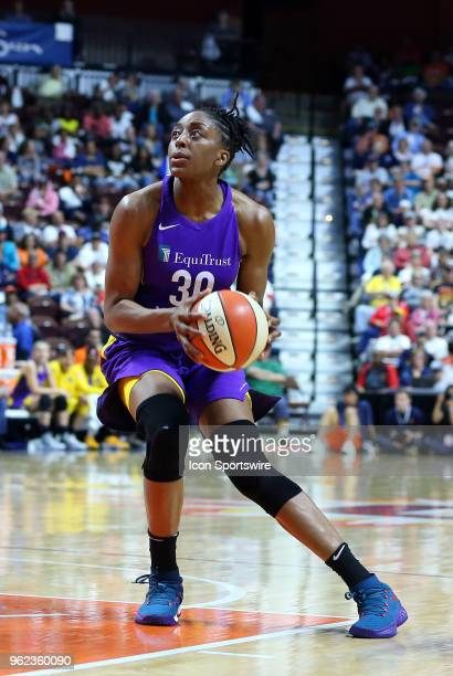 Los Angeles Sparks forward Nneka Ogwumike in action during a WNBA game between Los Angeles Sparks and Connecticut Sun on May 24 at Mohegan Sun Arena...
