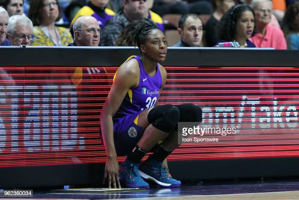Los Angeles Sparks forward Nneka Ogwumike waits to enter the game during a WNBA game between Los Angeles Sparks and Connecticut Sun on May 24 at...