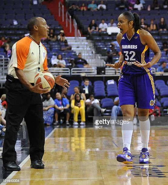 Los Angeles Sparks forward Tina Thompson disputes an outofbounds play during the fourth quarter against the Washington Mystics at the Verizon Center...